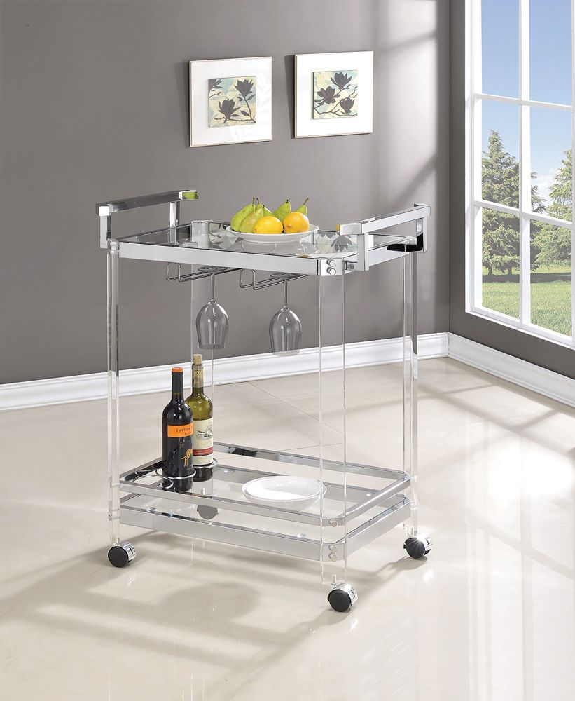 Acrylic Serving Cart with Chrome Accents