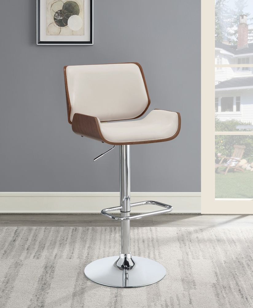 Walnut Adjustable Barstool in Black or Ecru