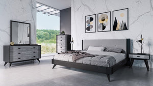 Pandora Grey & Black Platform Bedroom Collection
