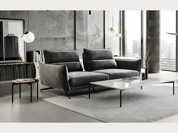 Royce Grey Fabric Sofa with Adjustable Backs