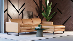 Italian Modern Cognac Leather Sectional