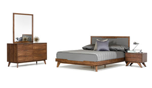 Rosa Mid Century Modern Bedroom Collection in Walnut or Grey