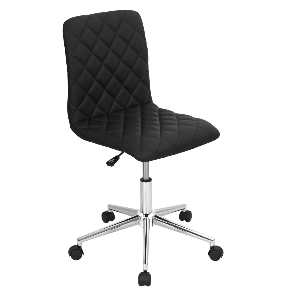 Cav Diamond Quilted Leatherette Office Chair in Black or White