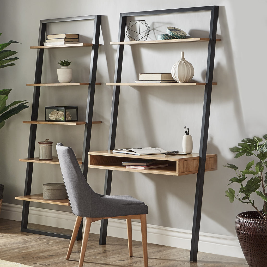 Dual Tone Ladder Desk with Optional Matching Bookcase