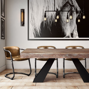 Elmwood Industrial Dining Table with Black Legs