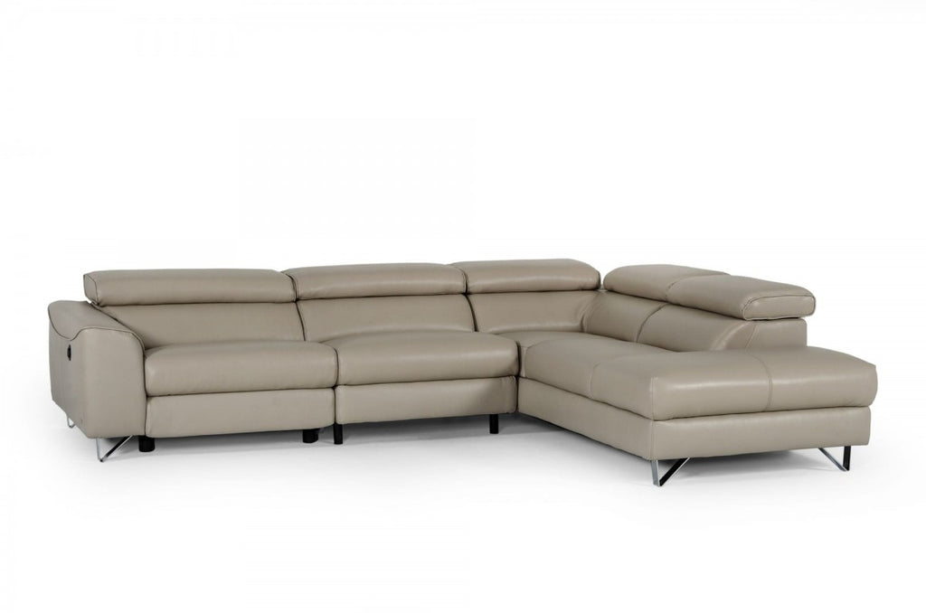 Vern Reclining Eco-Leather Sectional in Grey or Taupe