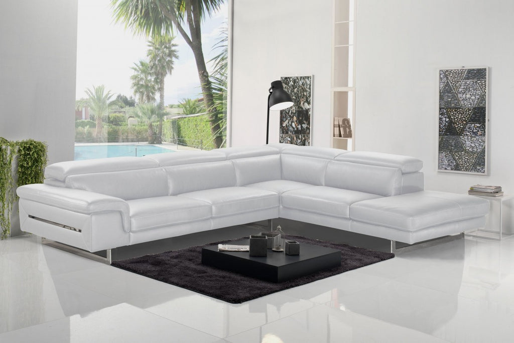 Western Italian Leather Sectional in White or Dark Grey