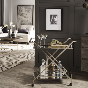 Champagne Bar Cart with Mirrored Shelves