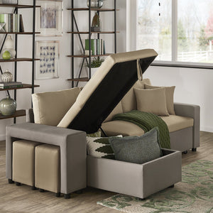 Dual Tone Convertible Sofa Chaise in 3 Color Options
