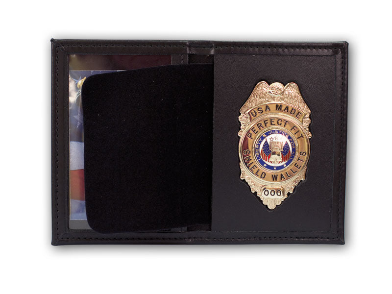 Perfect Fit Leather Recessed Badge/Single ID Case for Ohio Sheriff 5pt Star - red-diamond-uniform-police-supply
