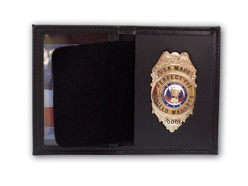Perfect Fit Leather Recessed Badge/Single ID Case for Ohio Sheriff 5pt Star