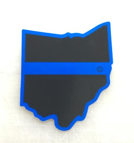 Ohio State Blue Line Decal - Red Diamond Uniform & Police Supply