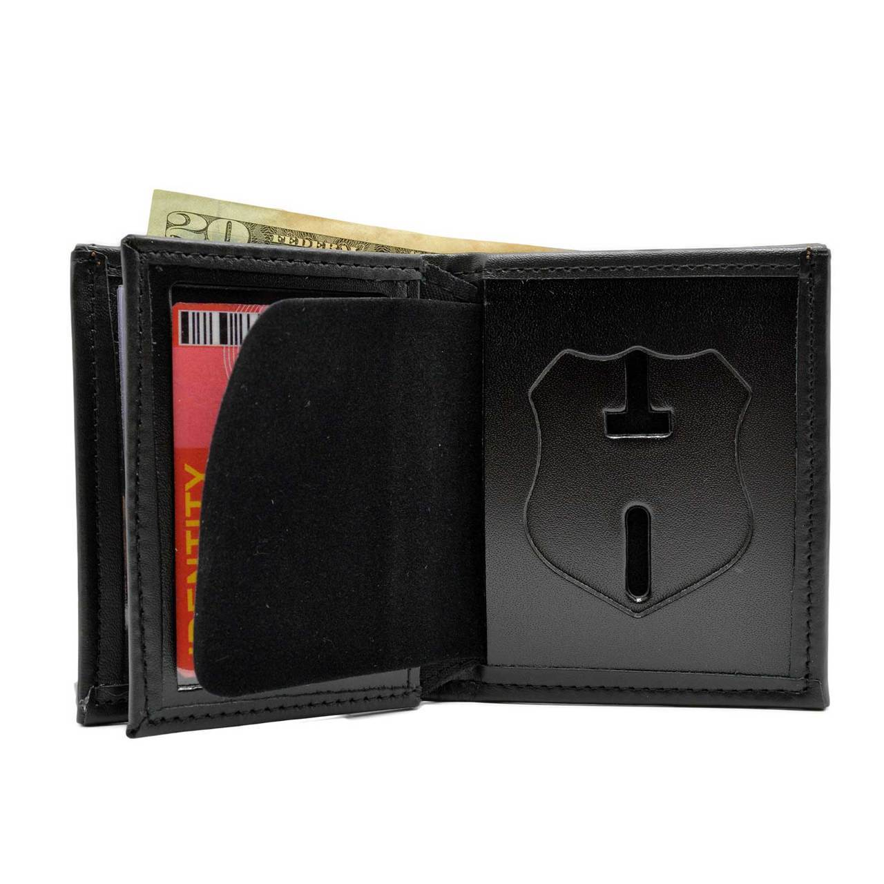 Perfect Fit Badge Bi Fold Wallet with Credit Card - red-diamond-uniform-police-supply