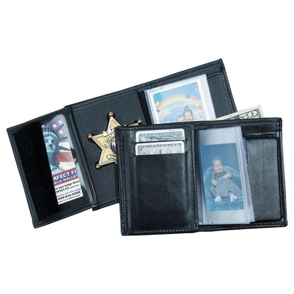 Perfect Fit Recessed Trifold Wallet W/ 5 Cc Slots & Single Id, Black - Red Diamond Uniform & Police Supply