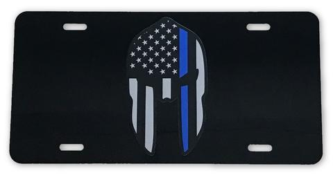 SPARTAN US FLAG BLUE LINE LICENSE PLATE - Red Diamond Uniform & Police Supply