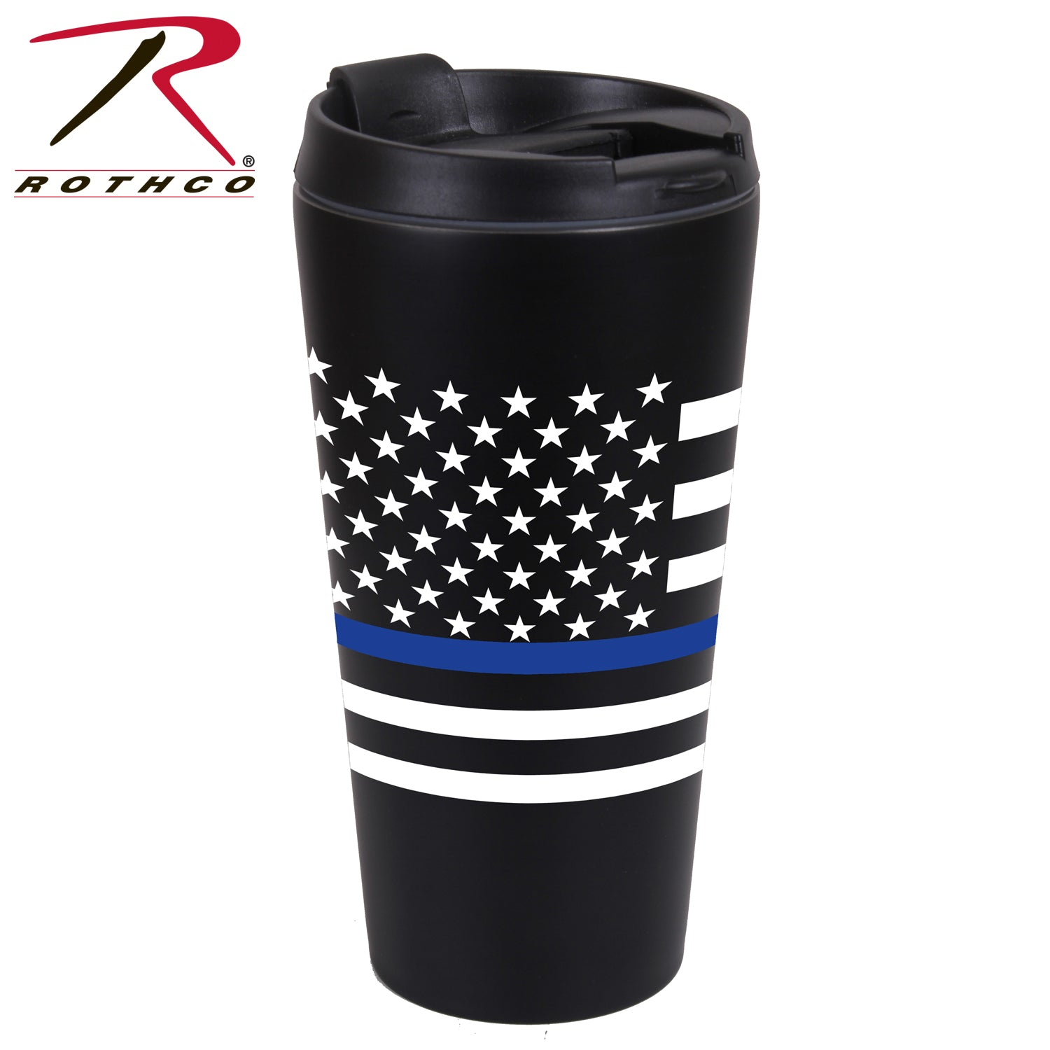Rothco Thin Blue Line Flag Travel Mug - red-diamond-uniform-police-supply