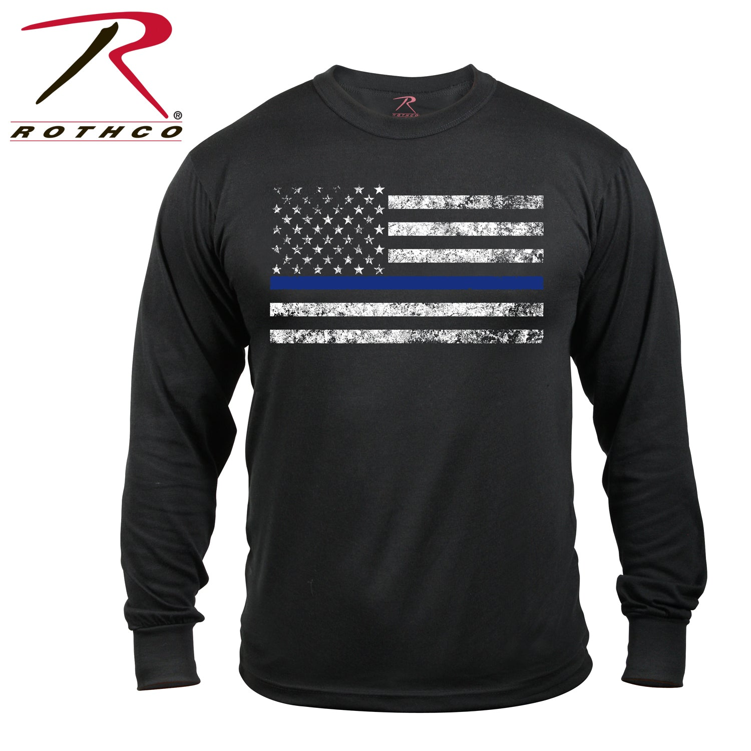 Rothco Thin Blue Line T-Shirt Long Sleeve - red-diamond-uniform-police-supply
