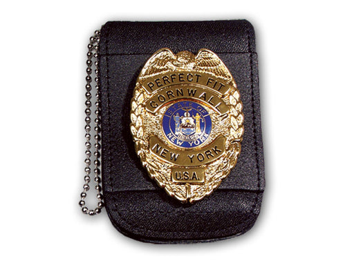 "Universal Badge & ID Holder w/ Magnetic Closure & 30"" Beaded Chain - Red Diamond Uniform & Police Supply"