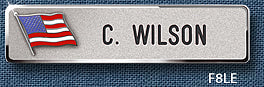 "Reeves F8 5/8"" Nameplate with Flag"