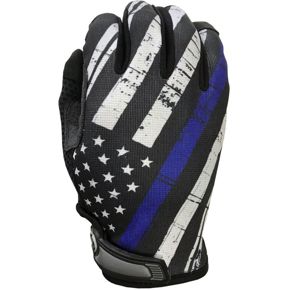 Industrious Handwear Blue Line Flag - Unlined - Full Finger Gloves - red-diamond-uniform-police-supply