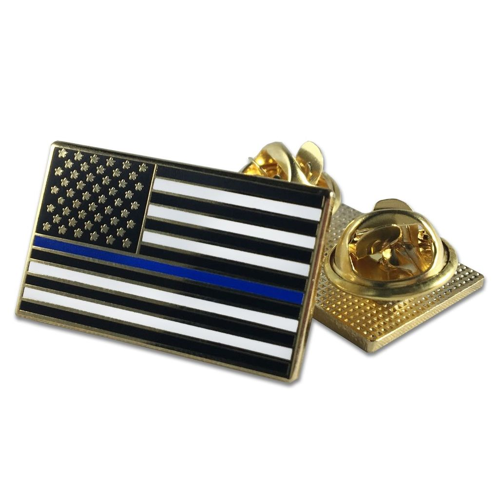 CLASSIC THIN BLUE LINE AMERICAN FLAG PIN · DOUBLE CLUTCH BACKING