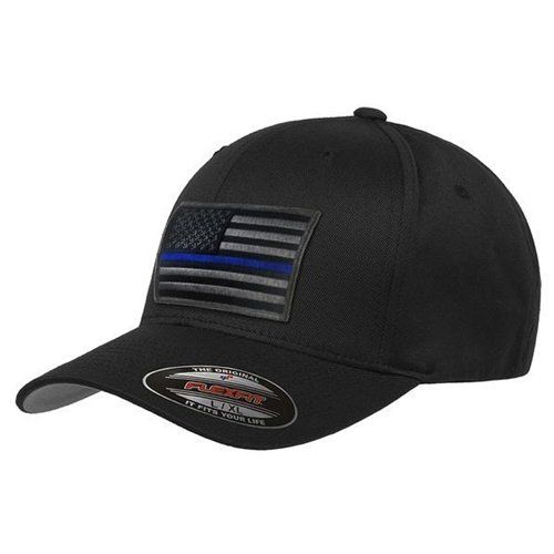 FlexFit Subdued Thin Blue Line Hat -Subdued American Flag