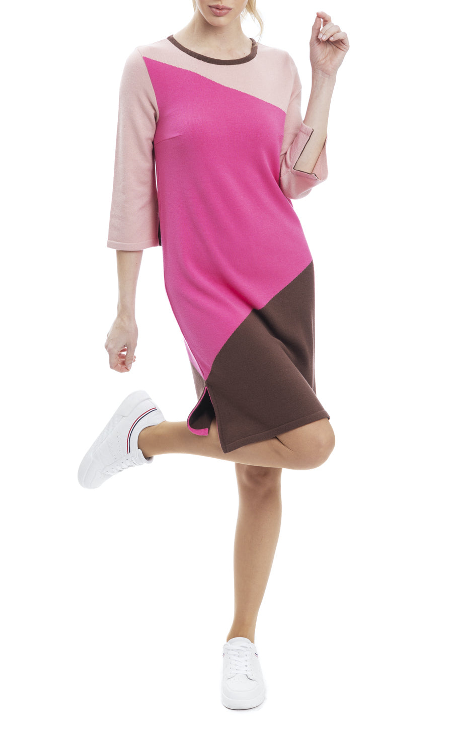 Hannah Block Colors Shift Dress with Side Slits; Blush/Pink/Brown