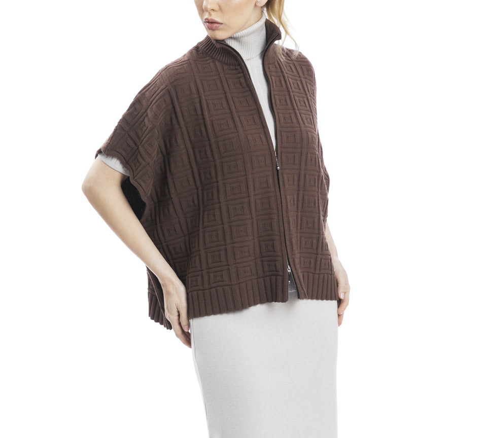 Bobbie Off-Shoulder Mock Neck Square Pattern-Knit Cardigan; Brown