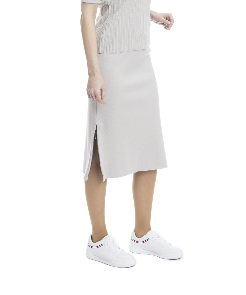 Lizzie Milano Knit Straight Skirt; Gray