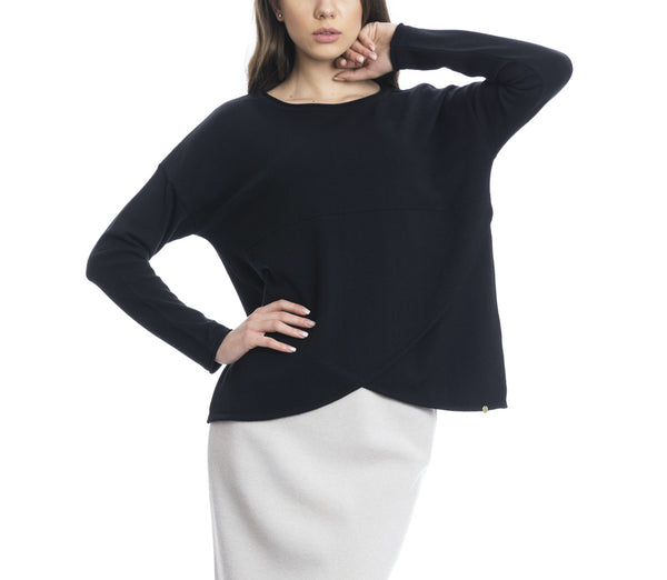 Filippa Crew Neck Wide Sweater with Overlapping Rounded Flaps; Black