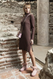 Stefanie Zip-Up Mock Neck, Vertical Rib Knit Tunic; Brown