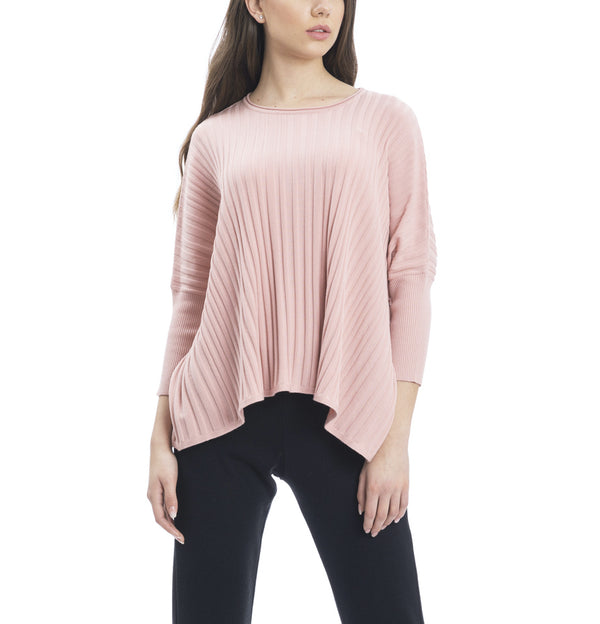 Erin Off-Shoulder Long Sleeved Vertical Rib-Knit Sweater; Blush