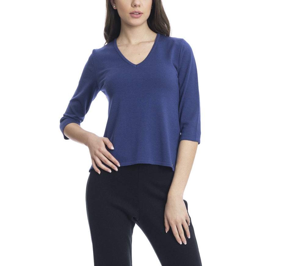 Becca V-Neck Top With a Swing Back; Royal Blue
