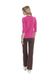 Krissie Two-Tone Round Neck Sweater; Pink/Brown