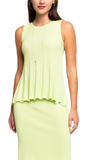 Molly Pleated Sleeveless Swing Top; Lime
