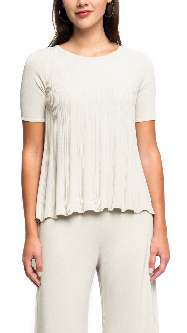 Polly Pleated Short-Sleeved Swing Top; Beige