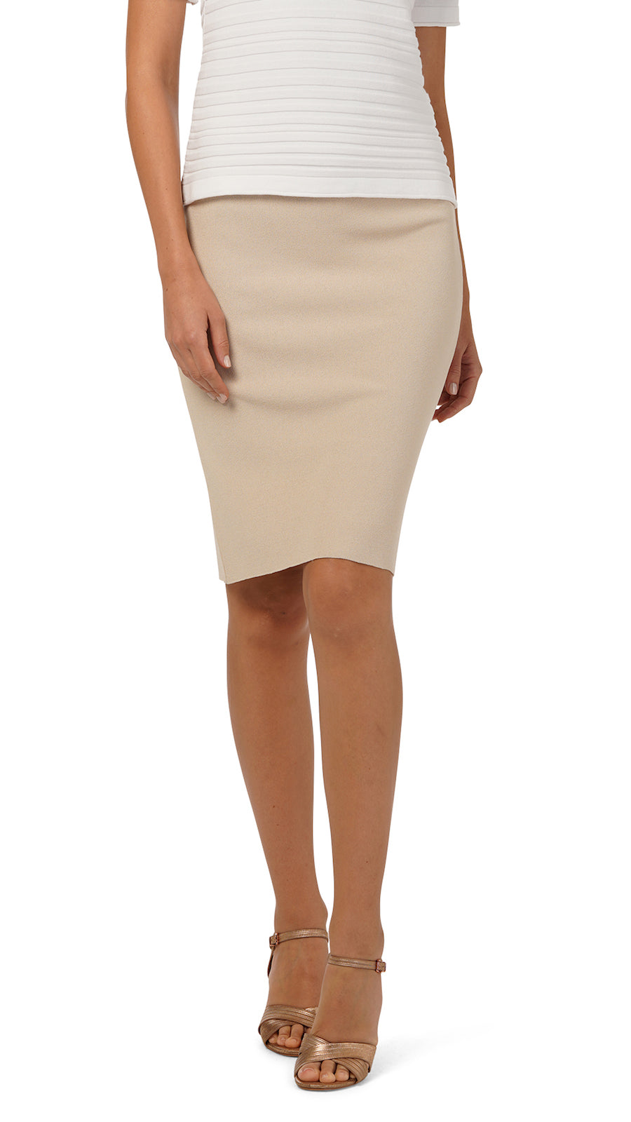 Cora Milano Knit Pencil Skirt with Two Back Slits; Beige