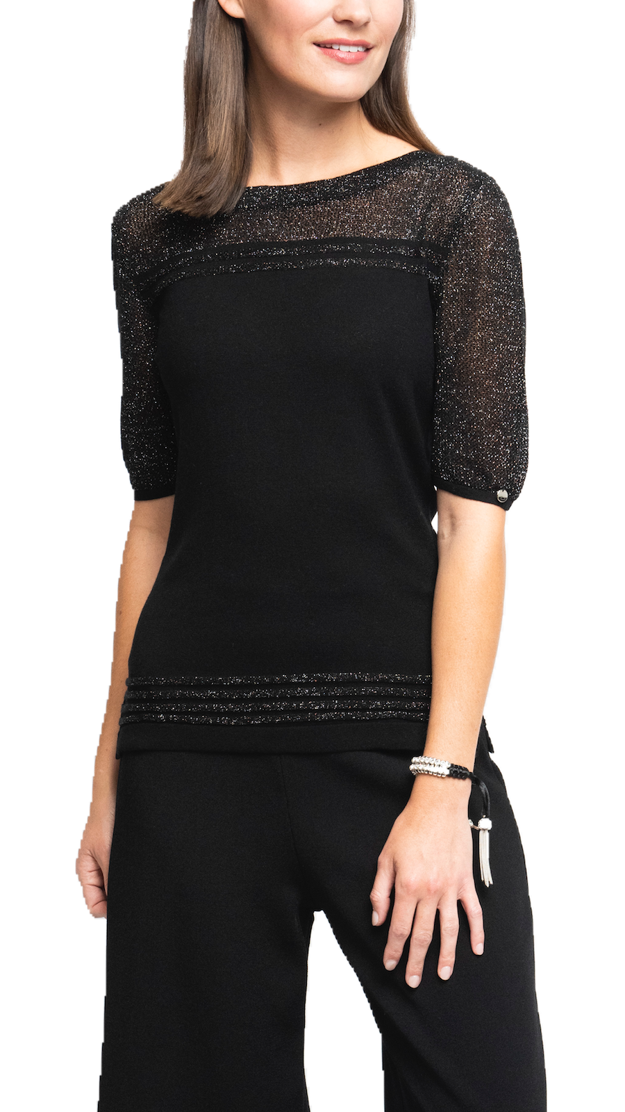 Bella Short Sleeved Top with See-Through Detail on Shoulders and Sleeves; Black/Shimmery Black