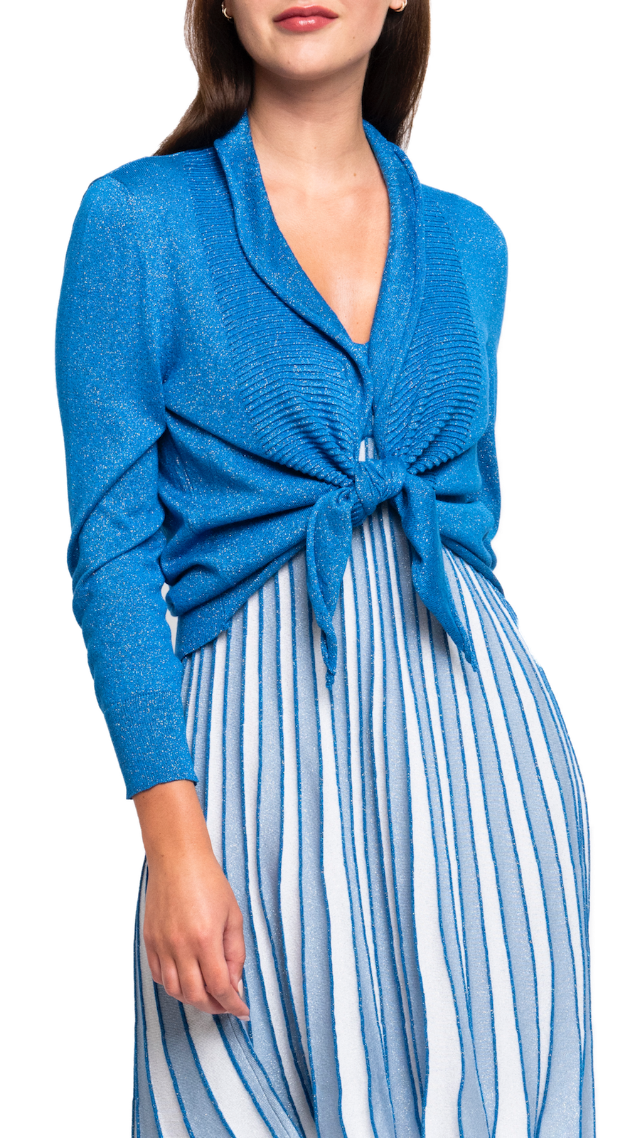 CONTEMPO Giana Shimmer Tie-Front Cropped Cardigan; Sparkly Blue