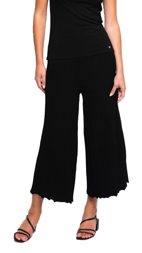 CONTEMPO Giuliana Plisse-Look Cropped Wide Leg Pants; Black