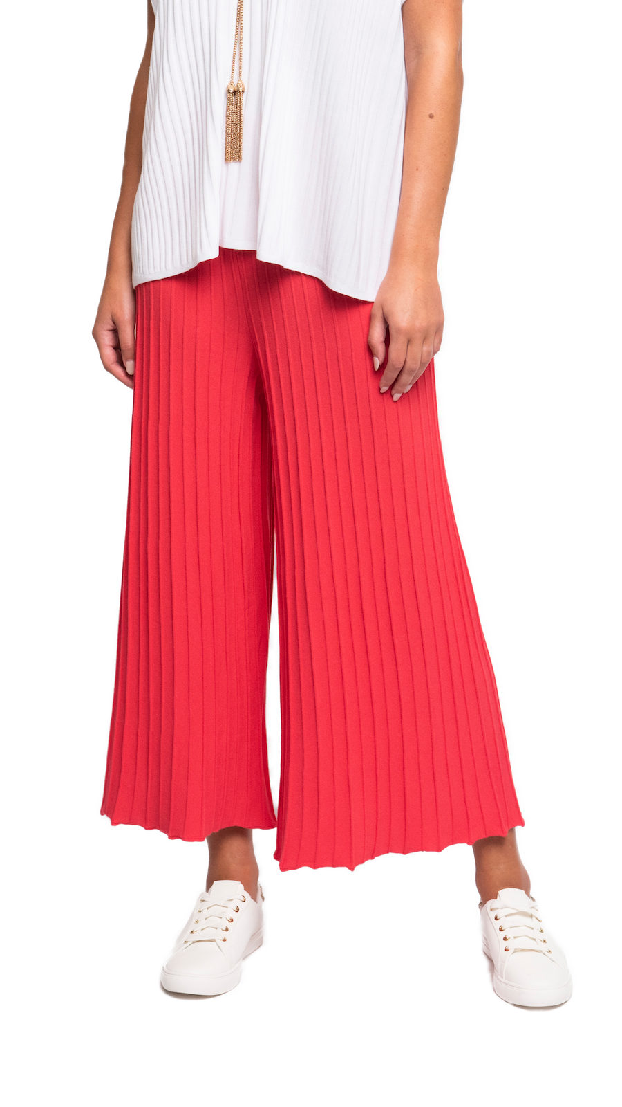 CONTEMPO Giuliana Plisse-Loook Cropped Wide Leg Pants; Coral Pink