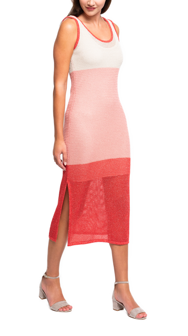CONTEMPO Beatrice Shimmery Long Sleeveless See Through Shift Dress; Gold Ecru / Gold Peach / Sparkly Coral