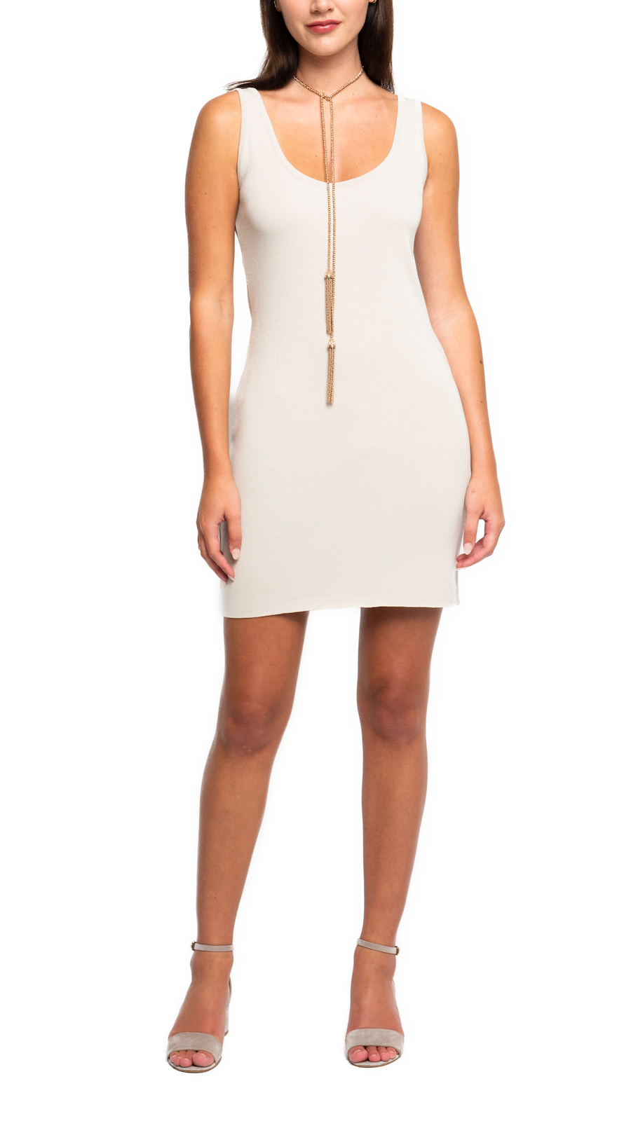 CONTEMPO Bettina Milano Knit Sleeveless Sheath Dress; Beige
