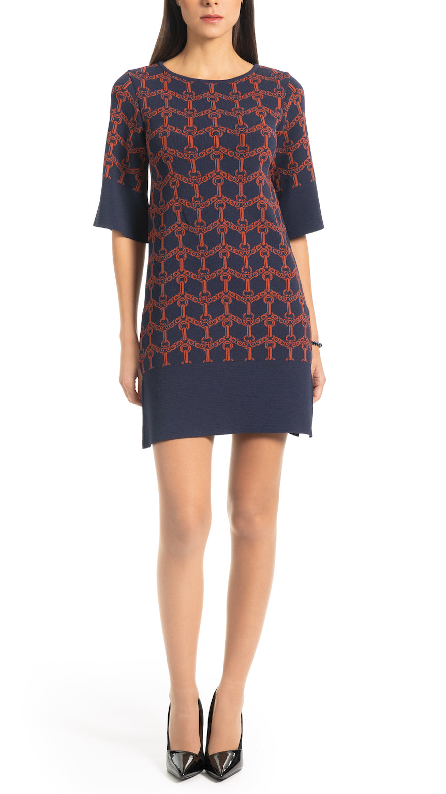 Josie flat knitted dress, Navy/Cinnamon