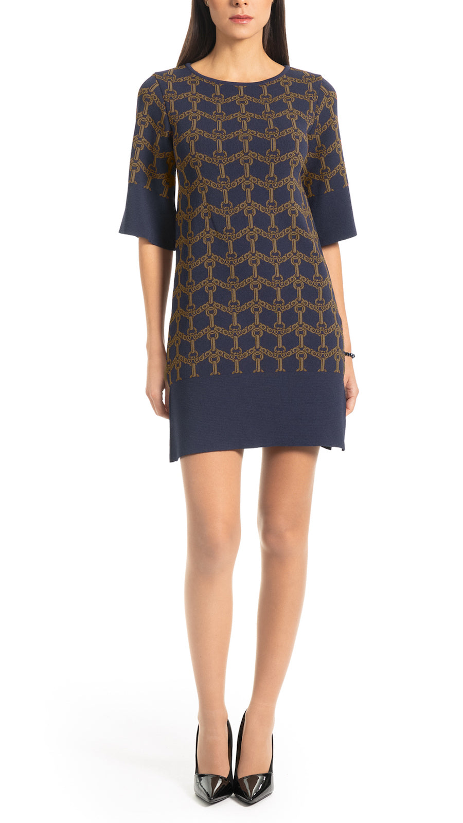 Josie flat knitted dress, Navy/Olive