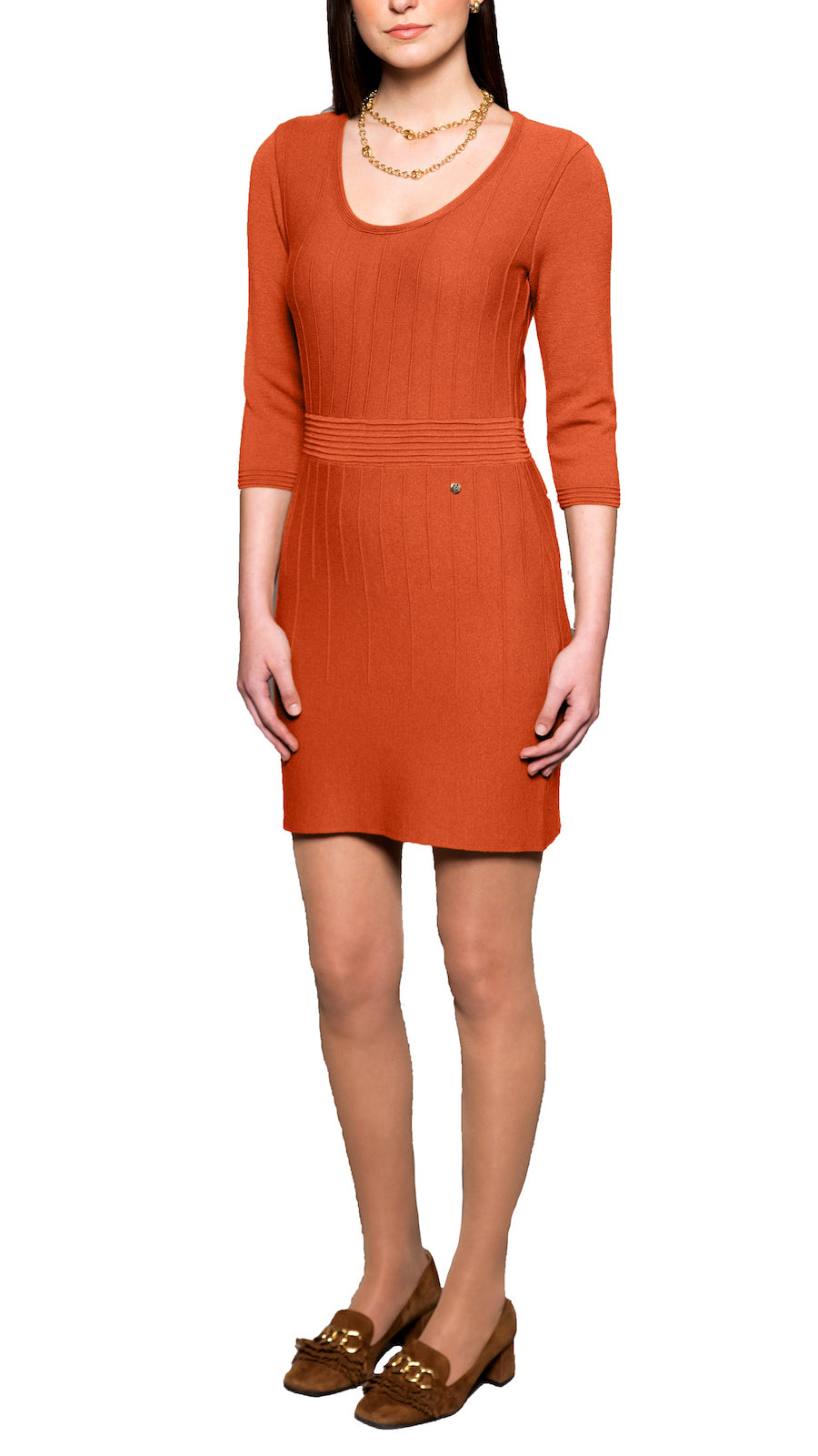 Julie knitted dress, Cinnamon Spice