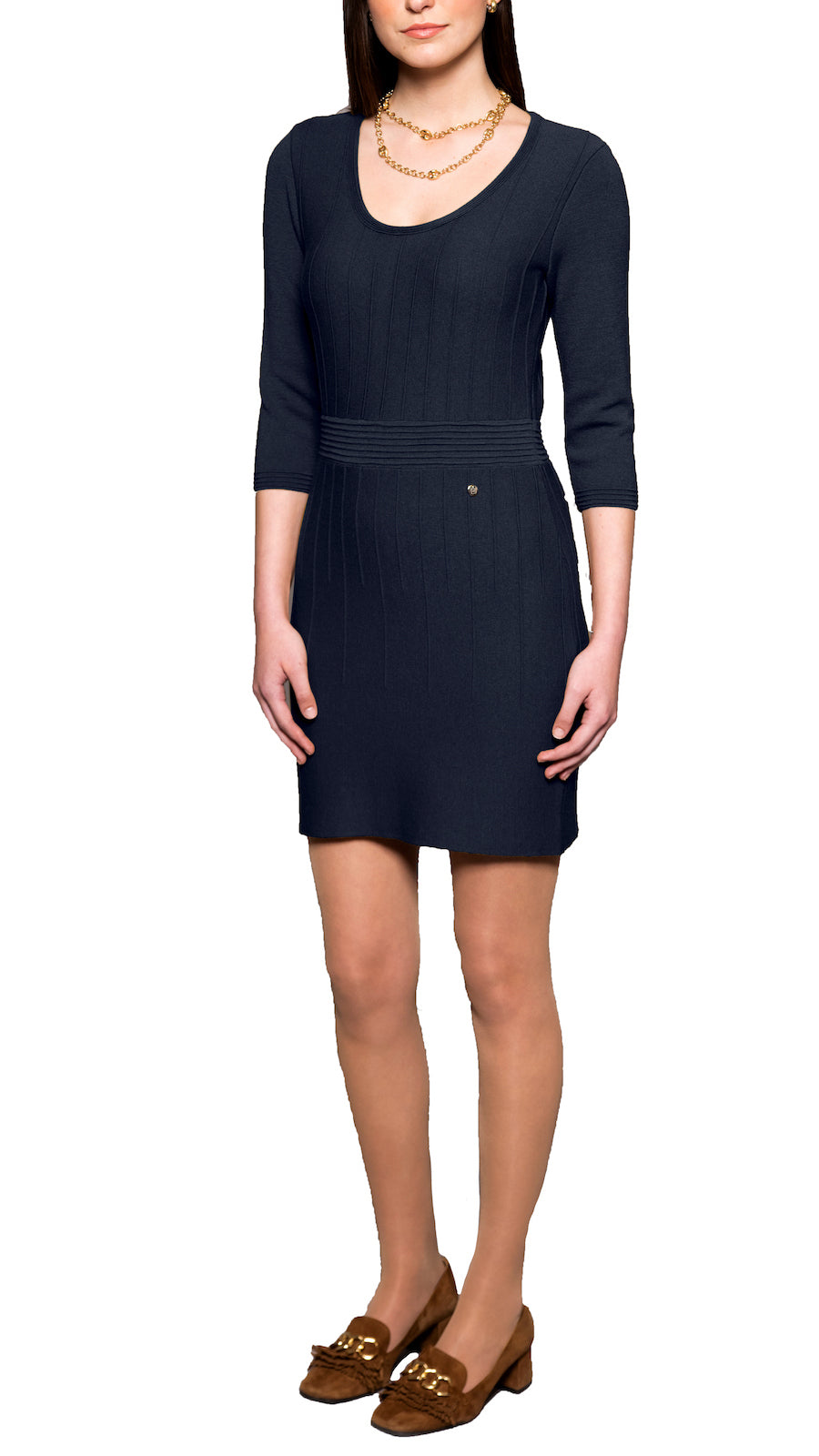 Julie knitted dress, Navy