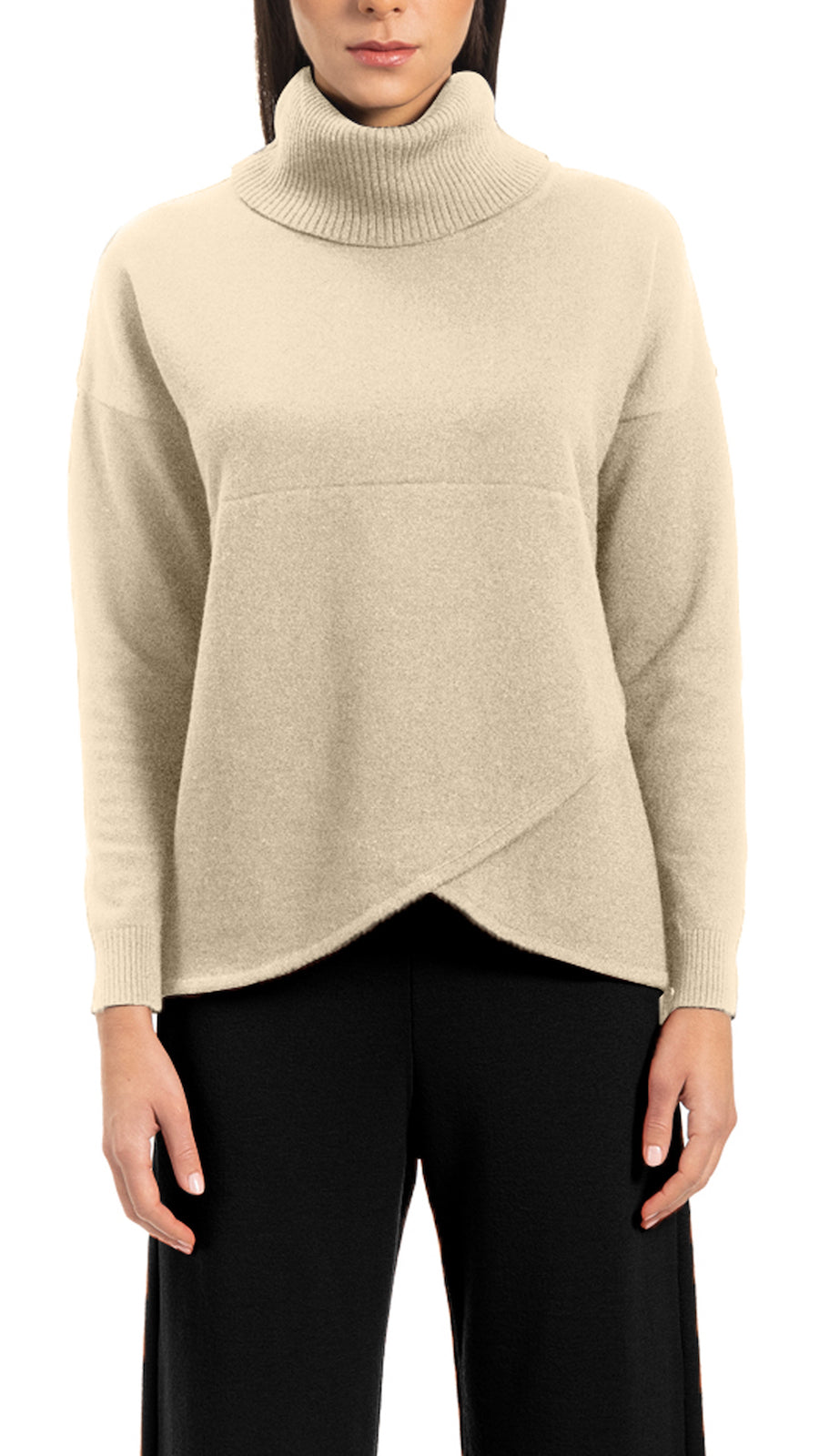 CONTEMPO Reba mock-wrap over-sized turtle neck sweater, Beige
