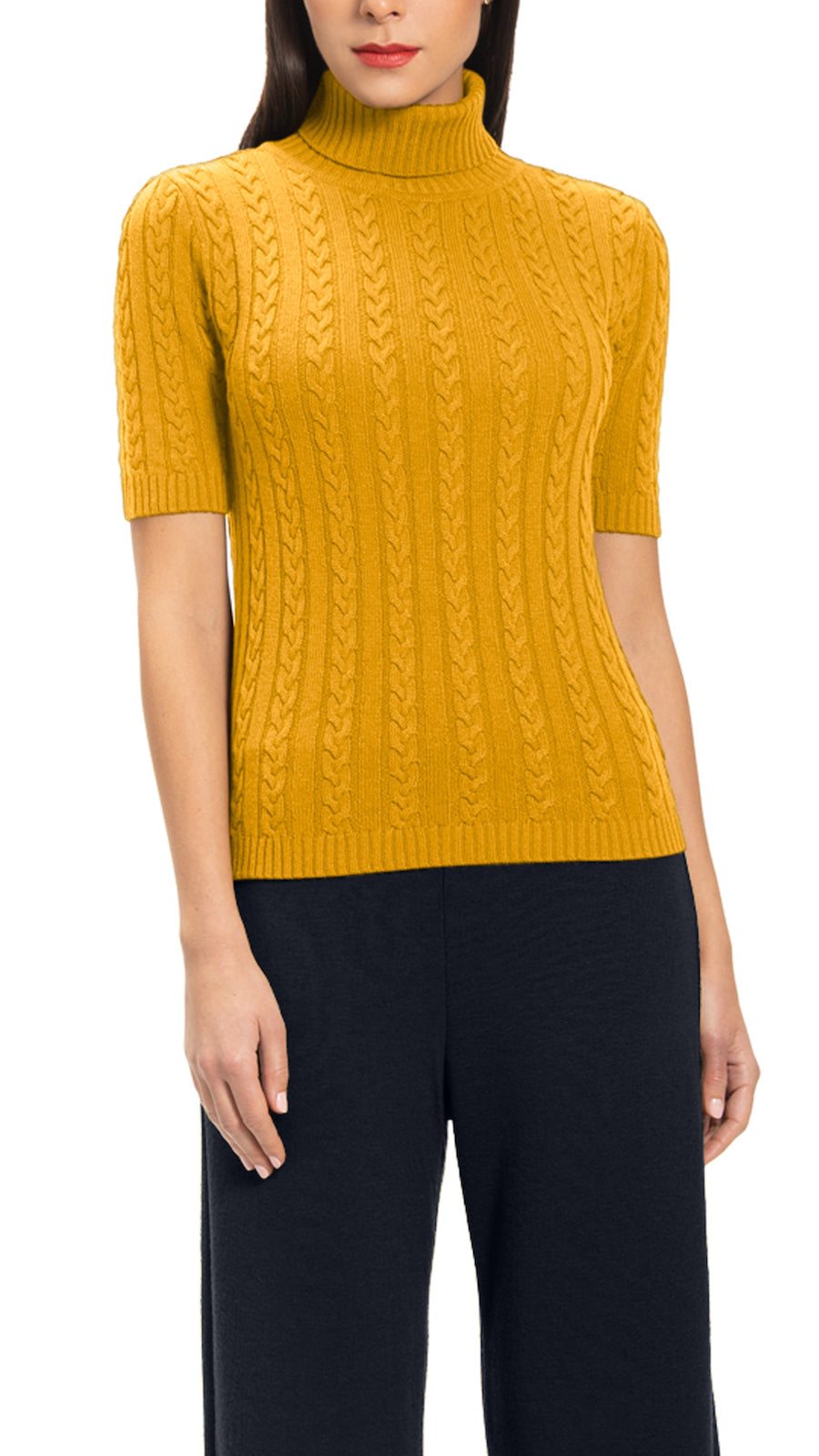 Lea Cashmere Blend Cable Knit Top, Amber