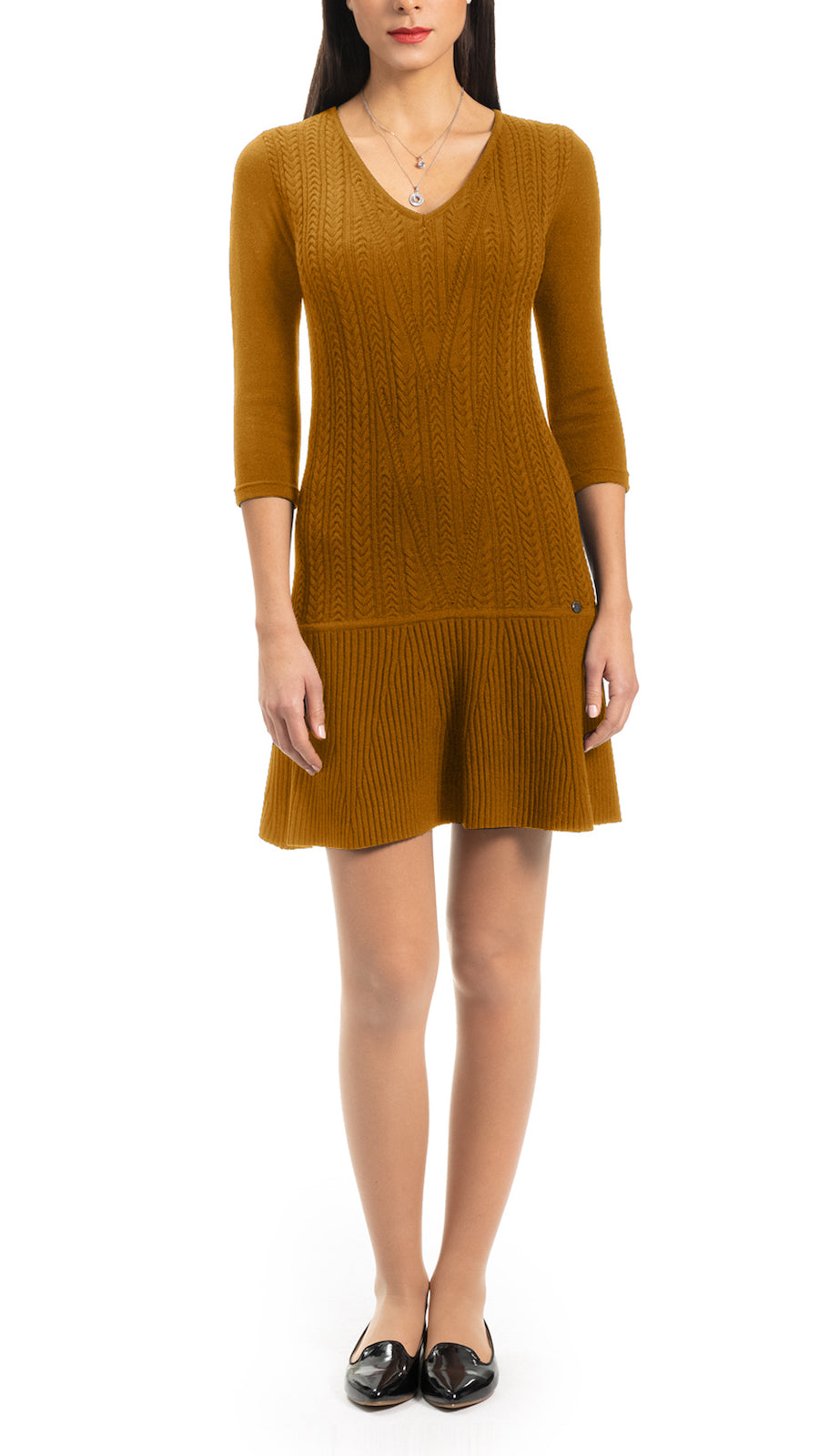 Lory Cable-Knit Dress, Caramel